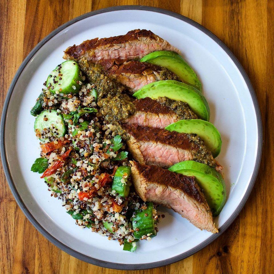 chimichurri flank steak + salad