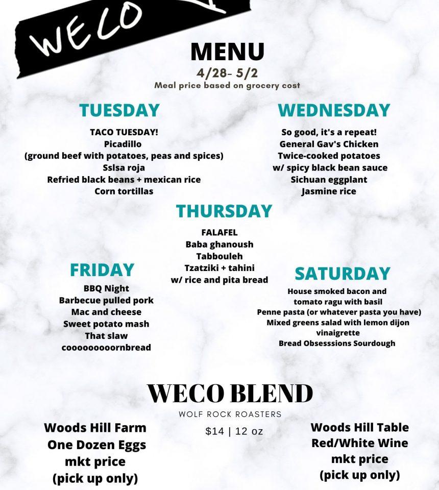 WECO Week Five Menu: 4/28-5/2