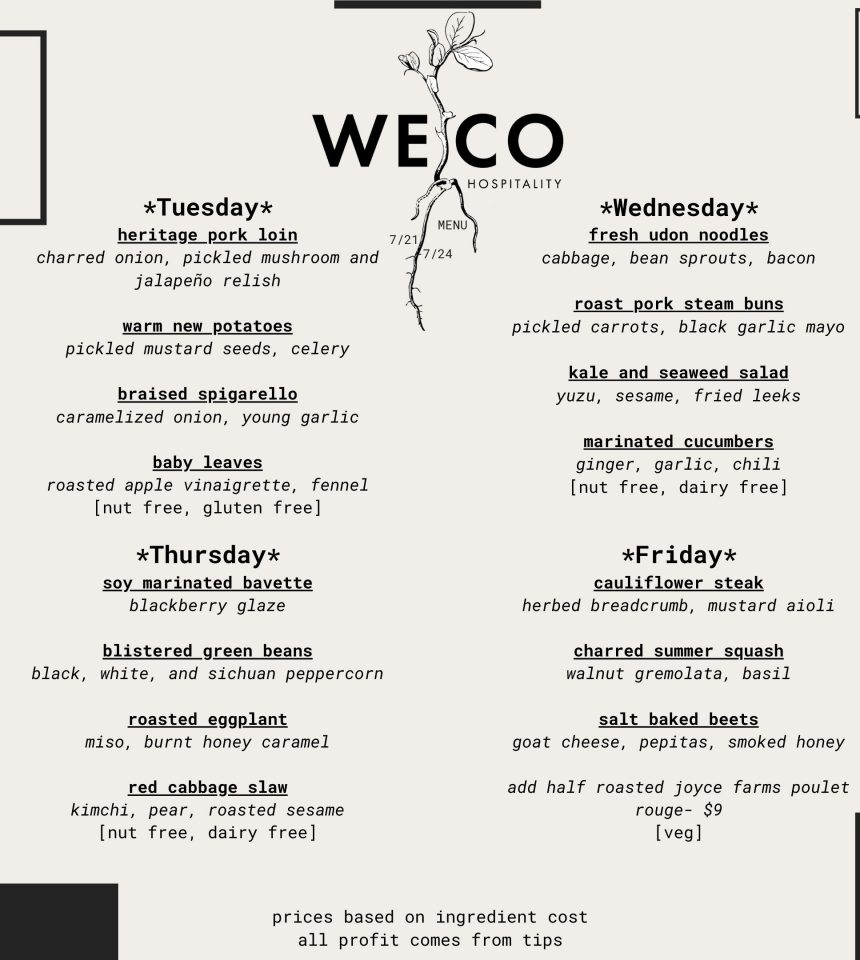 WECO Menu And Order Form 7/21-7/24