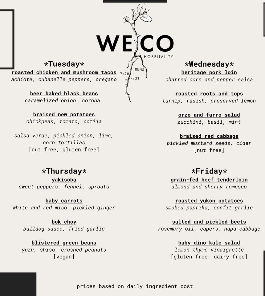 WECO Menu And Order Form 7/28-7/31