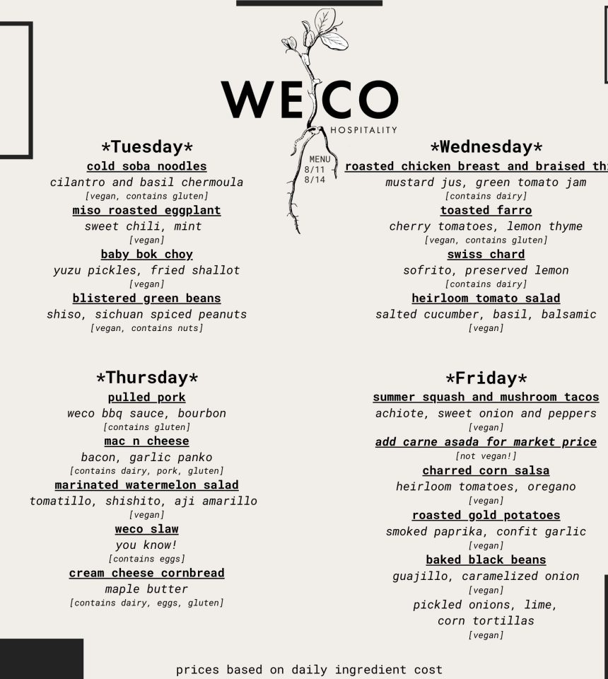 WECO Menu And Order Form 8/11-8/14