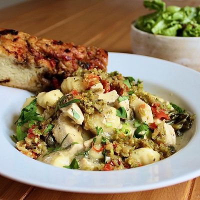 Gnocchi picatta! Deano's ricotta gnocchi, creamy white wine + caper sauce, curly kale from Applefield farms, caramelized onions, herbalicious chicken medallions. Housemade focaccia + tapenade. Crunchy greens with a sherry vinaigrette.